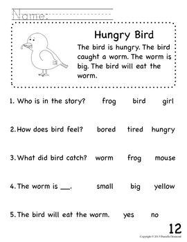 Beginning Readers Comprehension Packet for Early Education or ...