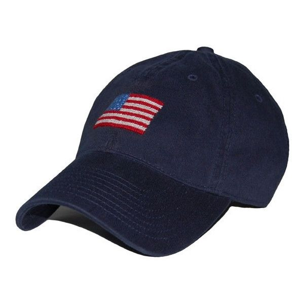 7a9121a77e2 American Flag Needlepoint Hat in Navy by Smathers Branson ❤ liked on  Polyvore featuring accessories