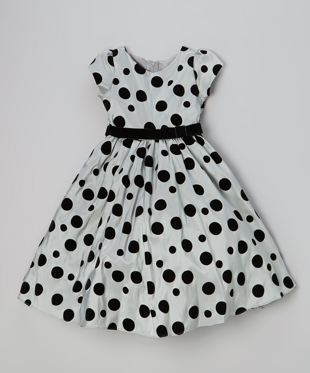 Gray Black Polka Dot Taffeta Dress Girls Babies Cool Stuff For