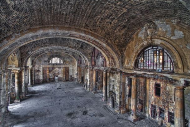 Michigan Central Train Station, Detroit. I wish I could see this building restored to what it once was.