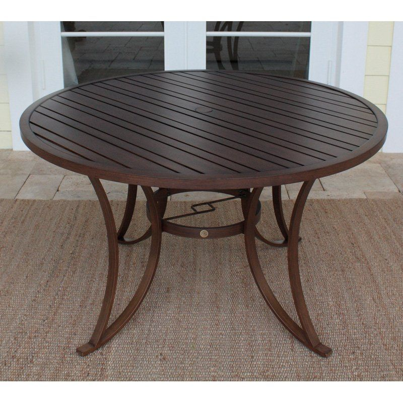 Have To Have It Hospitality Rattan Outdoor Slatted Aluminum 48 In Round Patio Dining Table Wi 48 Round Dining Table Patio Dining Table Outdoor Rocking Chairs Round patio table with umbrella hole
