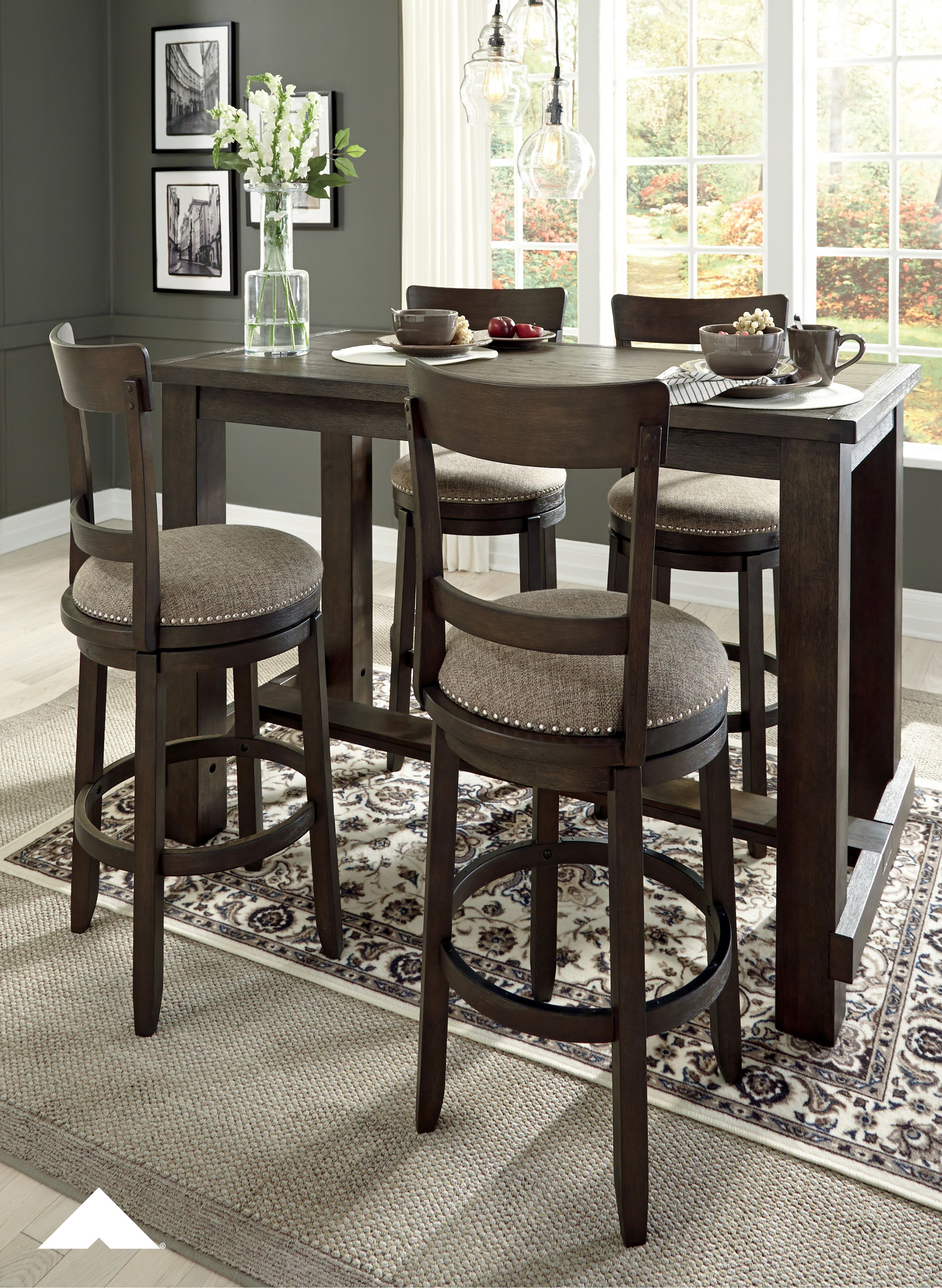Drewing brown dining room counterheight table and upholstered barstools armhouse styling for a trend right casual look constructed with acacia solids and