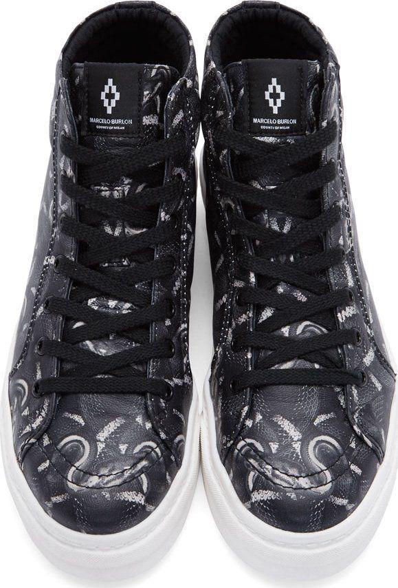cf9e2489f1b Marcelo Burlon County of Milan Black   White Leather Snake Print High Top  Sneakers