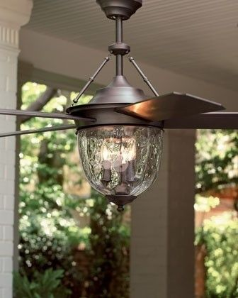 Dark Aged Bronze Outdoor Ceiling Fan With Lantern Traditional
