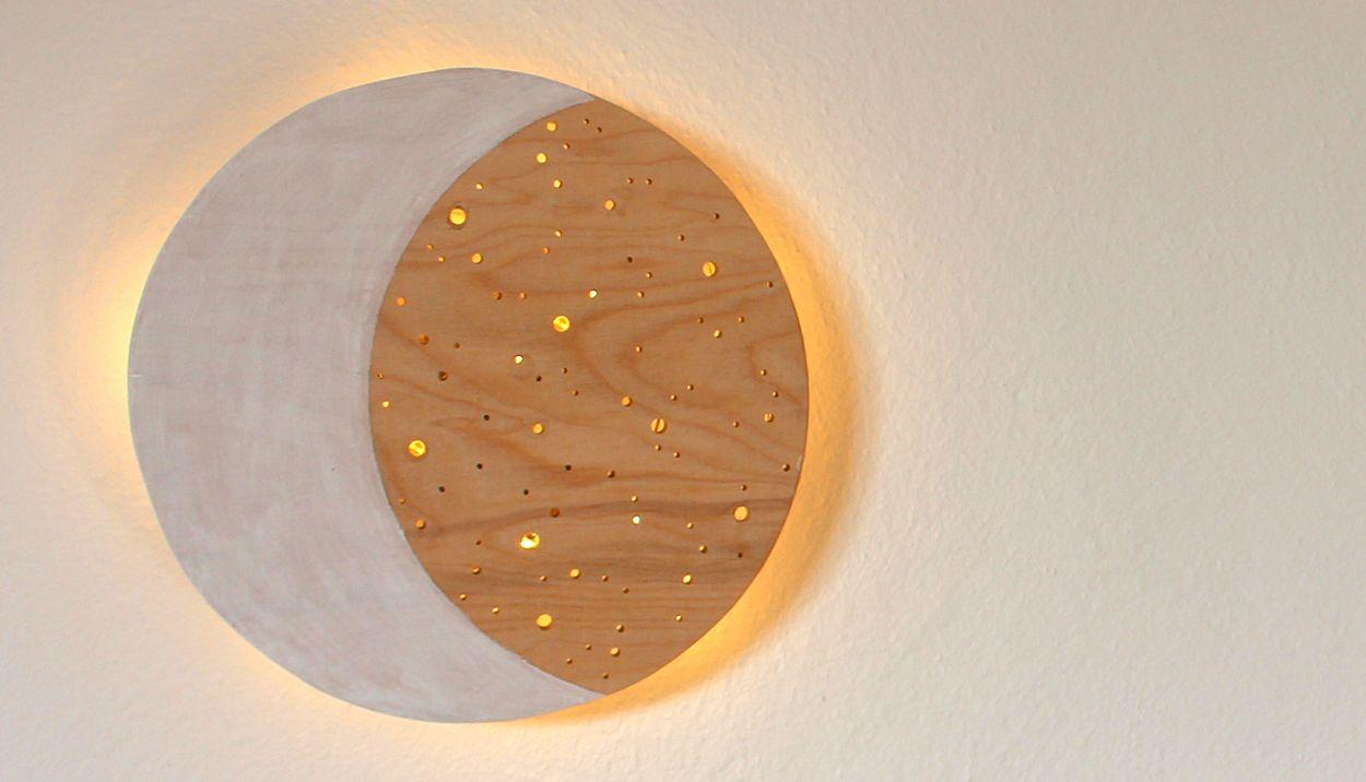 Do It Yourself Nachtlicht Aus Holz Einfach Selbst Basteln Nachtlicht Nachtlicht Kinderzimmer Mond Lampe