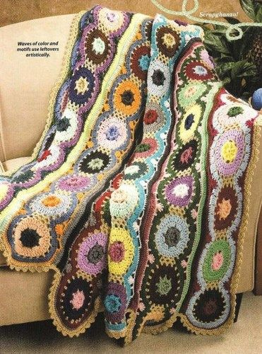 Y005 Crochet Pattern Only Waves Of Color Scrap Afghan Pattern