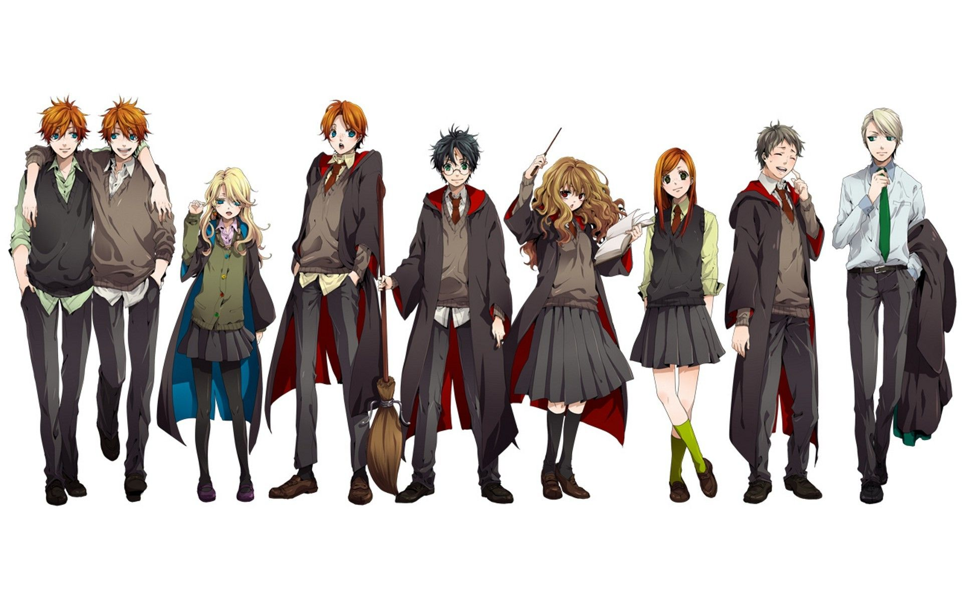 Harry Potter wizards wand Luna Lovegood anime Hermione Granger Ginny Weasley students Ron Weasley Draco Malfoy Neville Longbottom witches white background Fred Weasley George Weasley broomsticks  / 1920x1200 Wallpaper