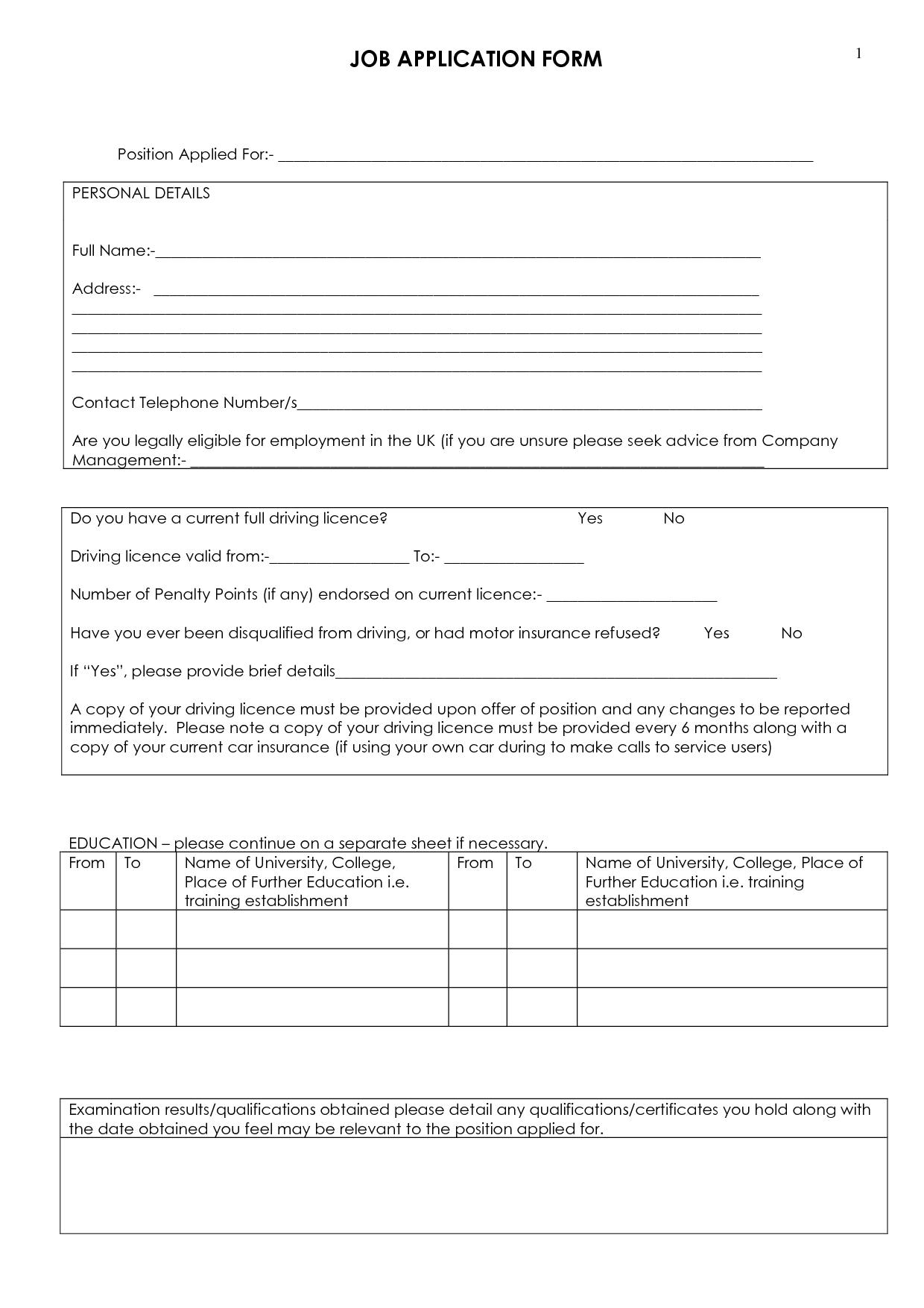 Job Application Form To Print