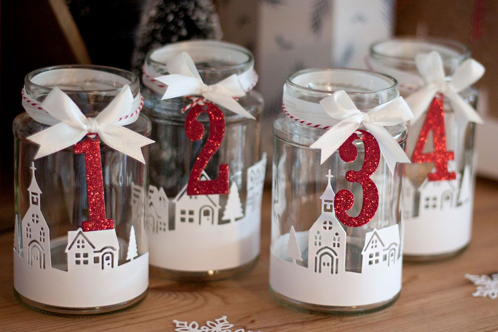 Photo of Advent wreath made of jam jars. Red glitter paper. Christmas, Advent, A …