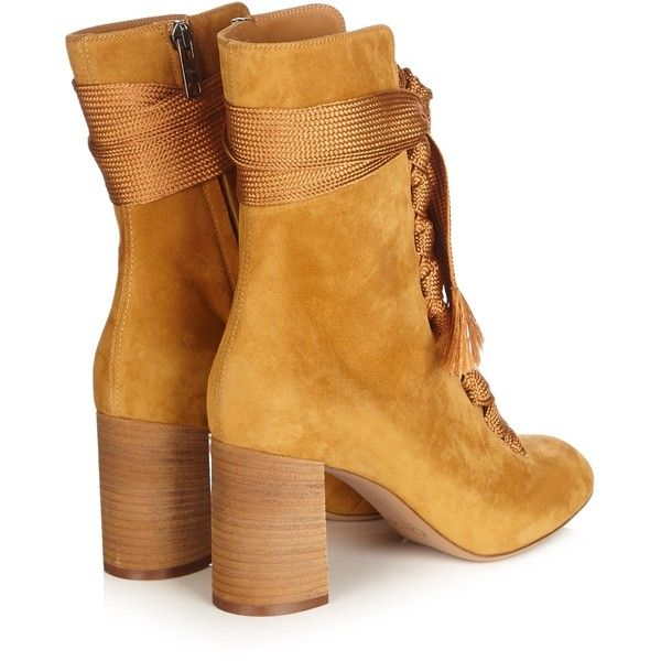 abdc5e52 Chloé Harper lace-up suede ankle boots ($1,058) ❤ liked on Polyvore ...