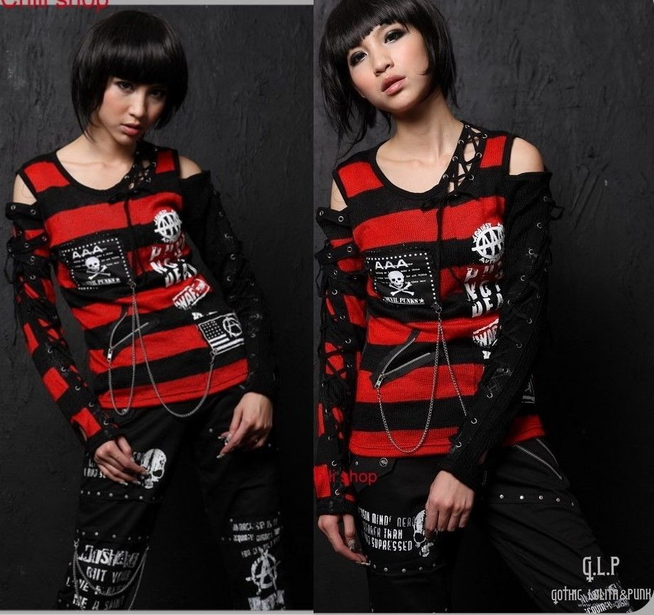 71188 Kera PUNK Rock GOTHIC Sexy Nana STRIPED Sweater Top Knit SHIRT Red S~L #KnitTop