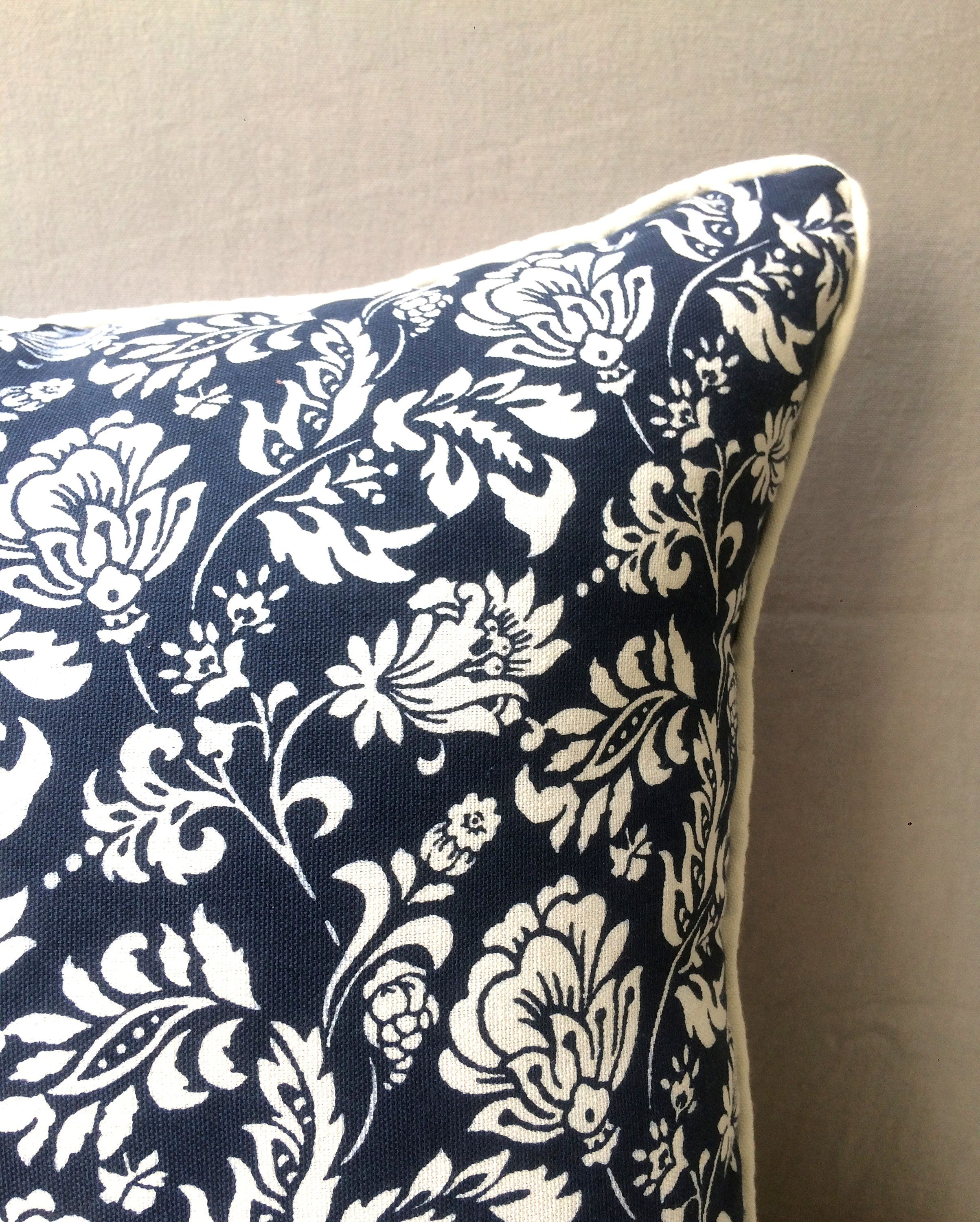 Floral printed cushion cover indigo pillow cover decor cushion