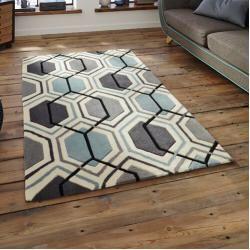Teppich Wohnzimmer Kurzflor Modern Grau Schwarz  Weiß Kariert Kachel Optik NEU