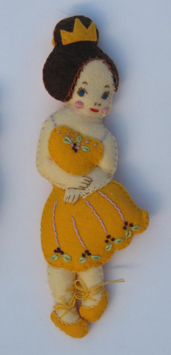 Hand embroidered wool felt Sugarplum Fairy from the Nutcracker Ballet.