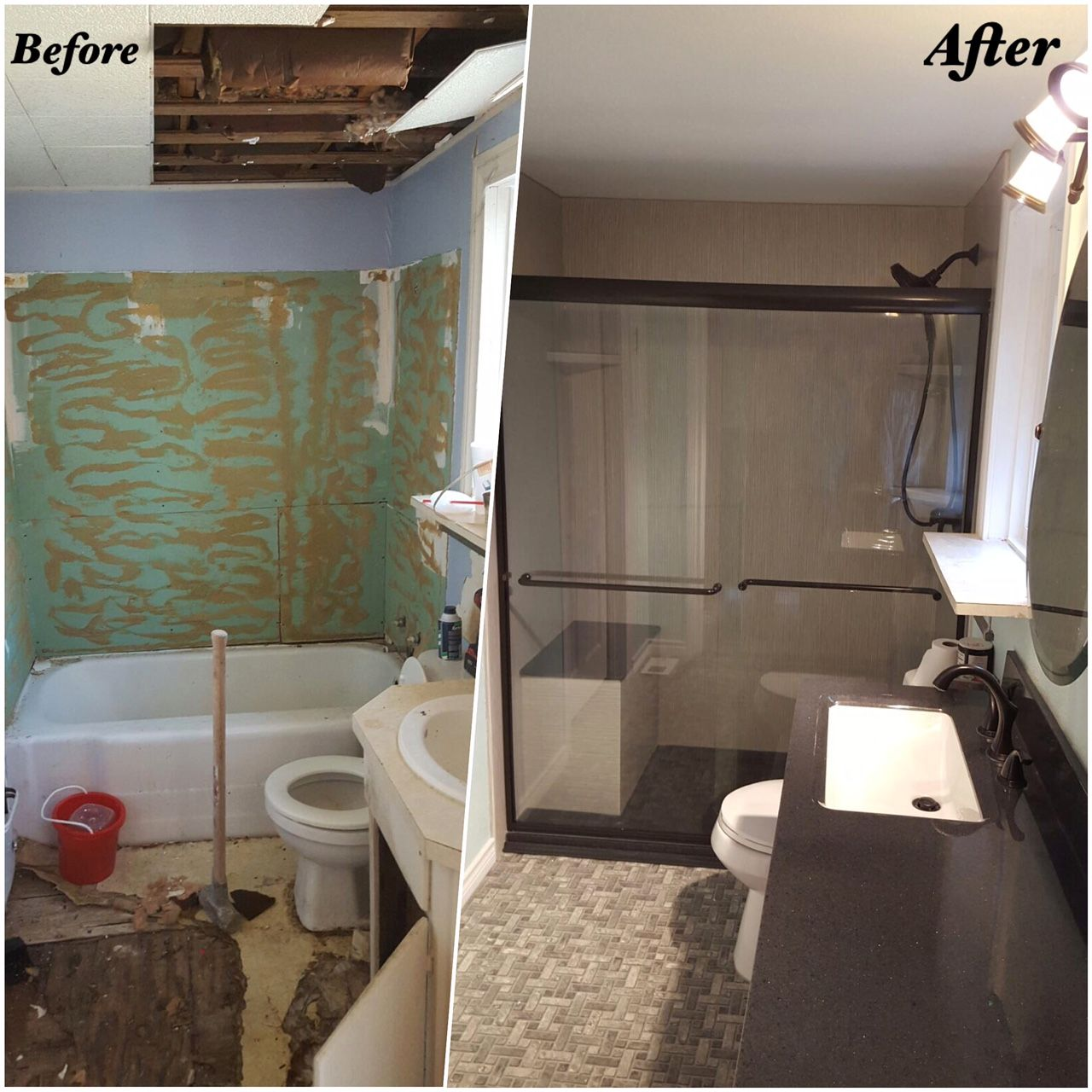 Complete bathroom remodel with new rebath brushed linen for Complete bathroom remodel