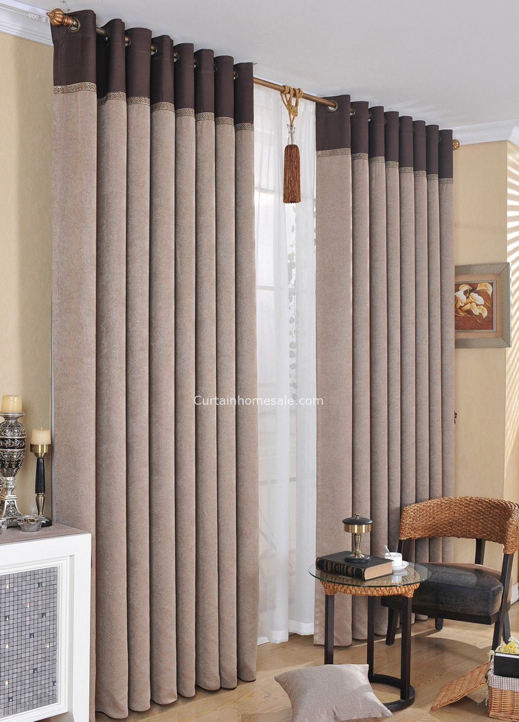 Simple Casual Faux Linen Fabric Light Coffee Color Thick Modern