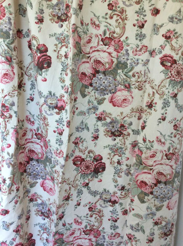 Laura Ashley Victoria Curtains Red Roses 82 D X 53 W Unlined Ex Condition