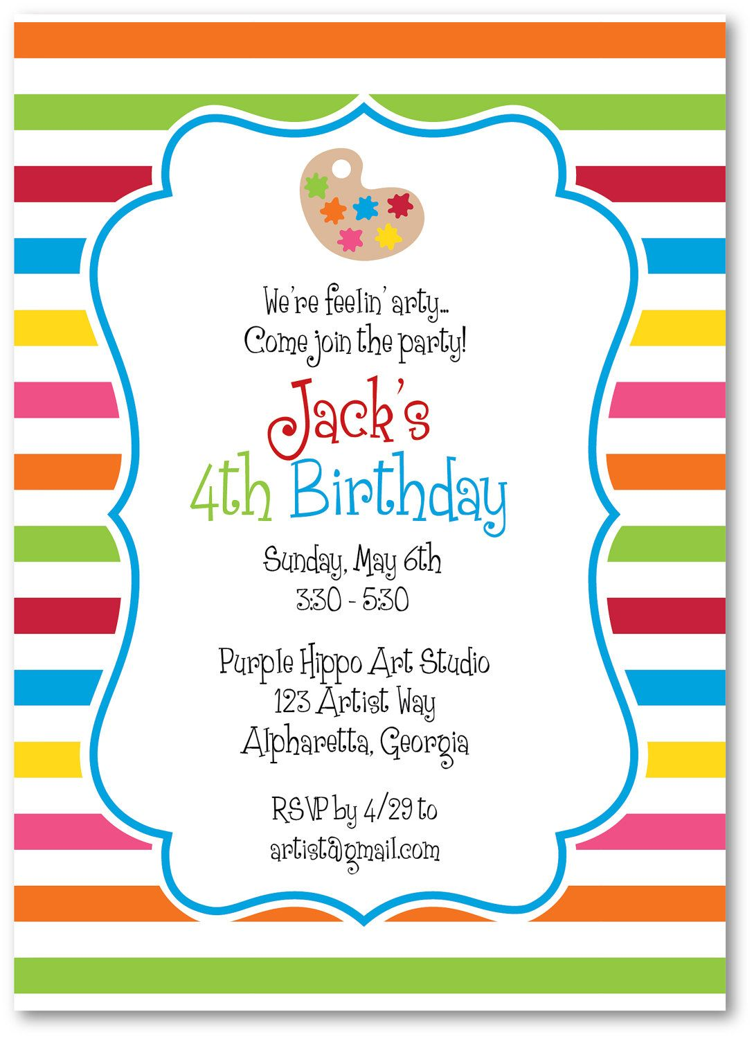 Art Party Invitations by ThePreppyLadybug on Etsy | Party Ideas: Art ...