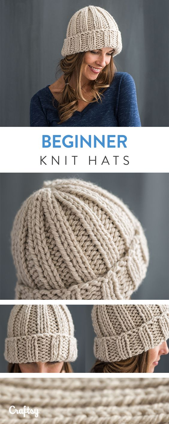 Make these beginner knitted hats!   Beanie knitting ...