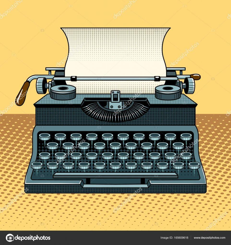 Descargar Vector De Estilo Maquina De Escribir Mecanica Vintage Pop Art Ilustracion De Stock Typewriter Art Typewriter Graphic Design