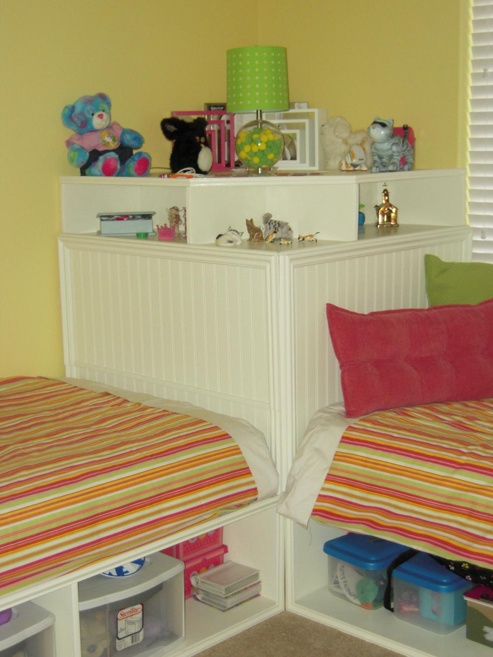 Twin storage beds and modified corner unit (secret storage
