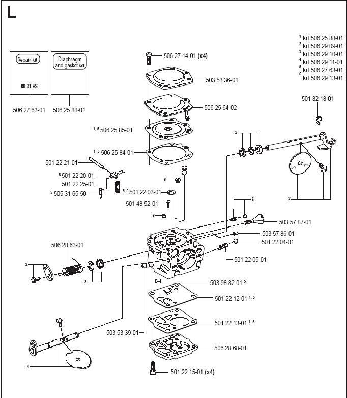Partner K950 Active Carburetor Parts Diagram & Breakdown