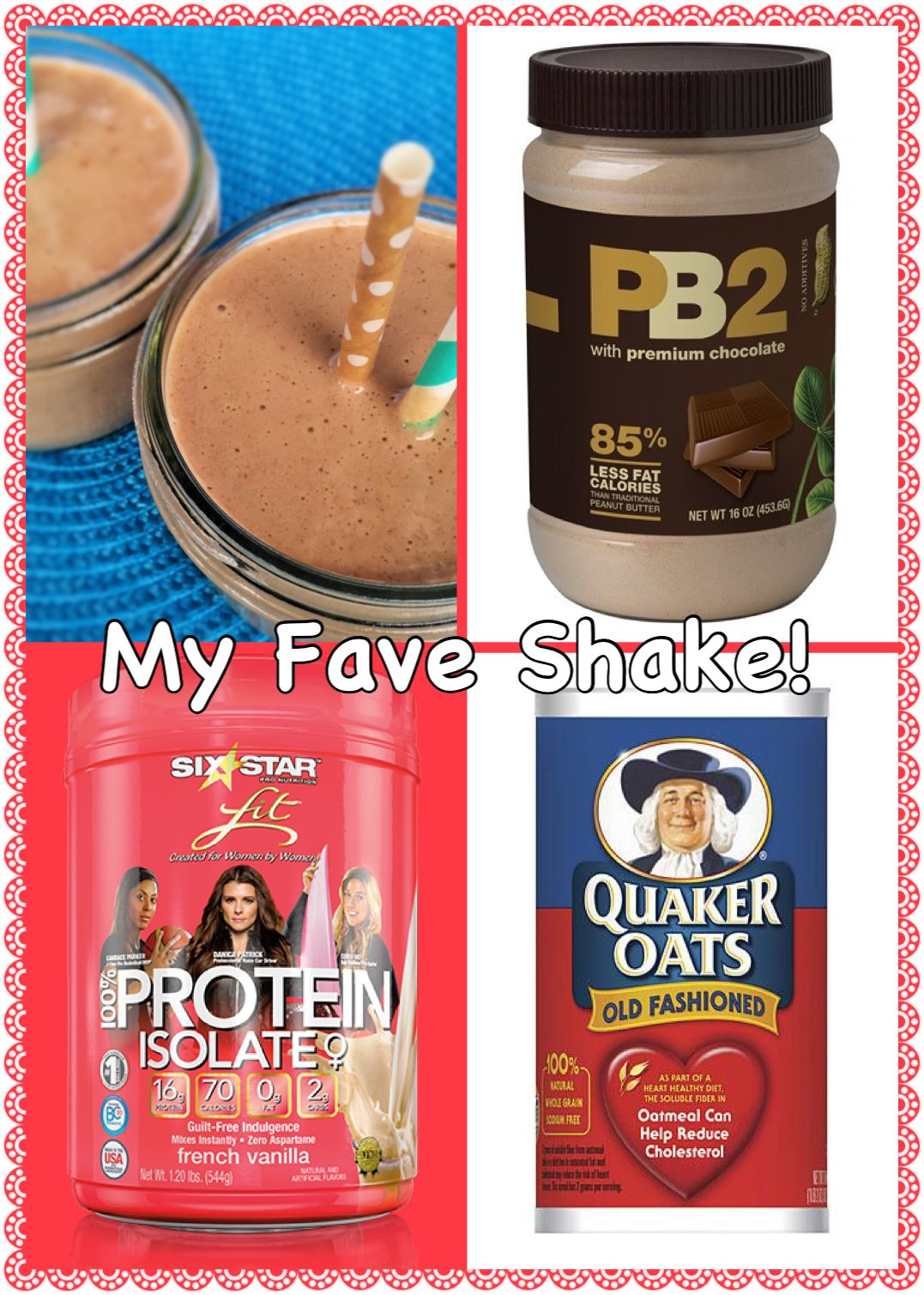 My fave protein shake is 2 Tbsp of Choc PB2, 1/4 cup oatmeal, 4 ice cubes, 1 scoop of Vanilla protein powder, 1/2 banana & 1 cup of 1% milk.  330 calories, 47g carbs, 32g protein.  You can shave calories and carbs off by switching to almond milk and eliminating the oatmeal.... Regardless it is super yummy.  Sometimes I add some spinach for some extra vitamin C (doesn't affect the taste!)!!