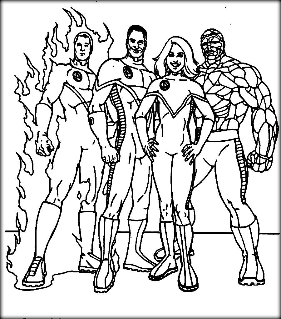 Fantastic Four Coloring Pages For Kids Cartoon Coloring Pages