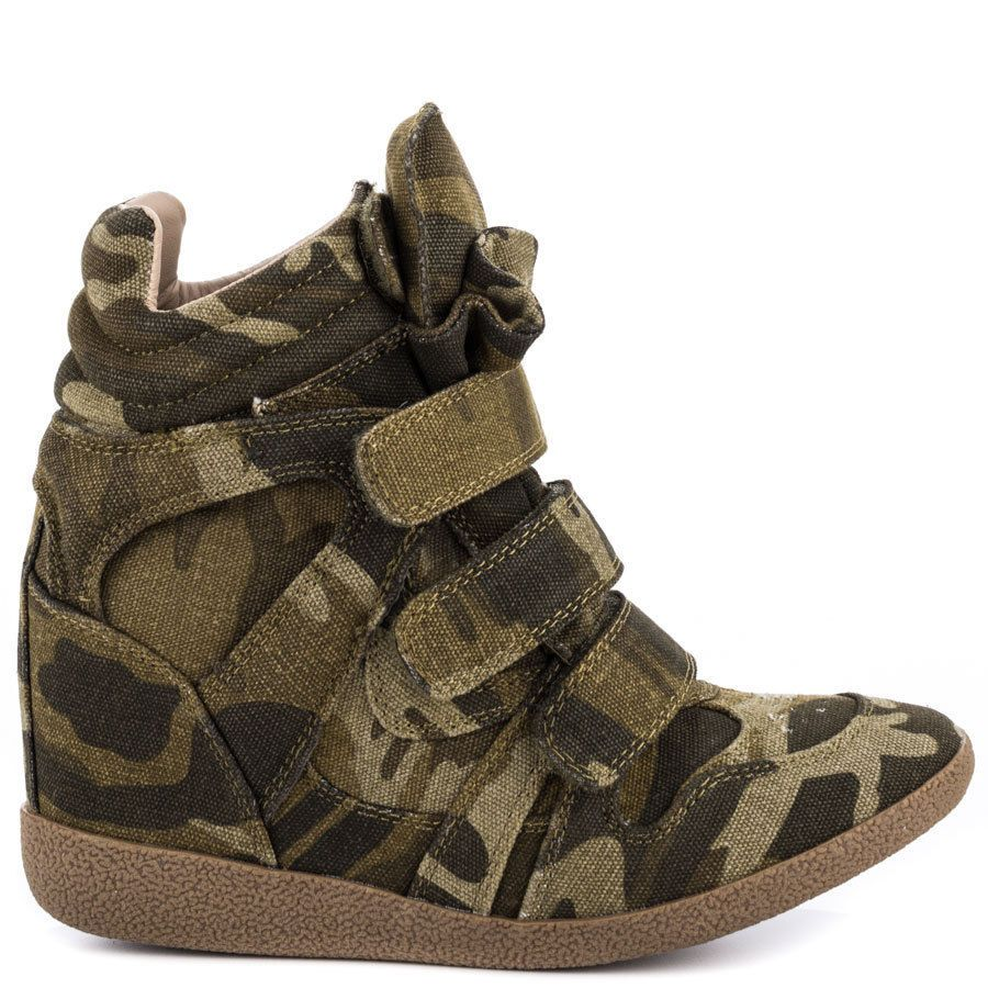 New Steve Madden Womens Hilight Camo Hidden Wedge Velcro Tab Sneakers Size 9 #SteveMadden #FashionSneakers