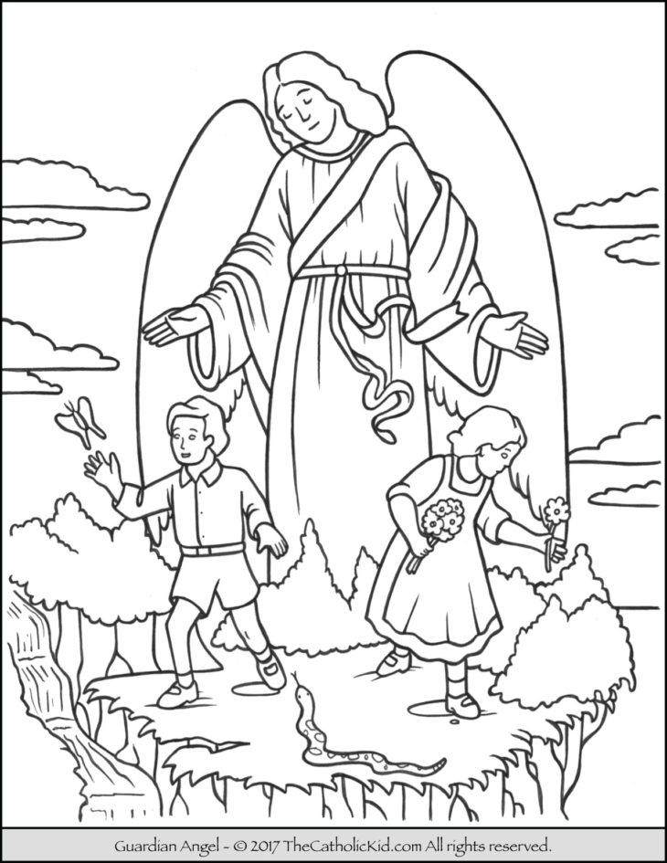 The Guardian Angel Coloring Page | Angel coloring pages ...