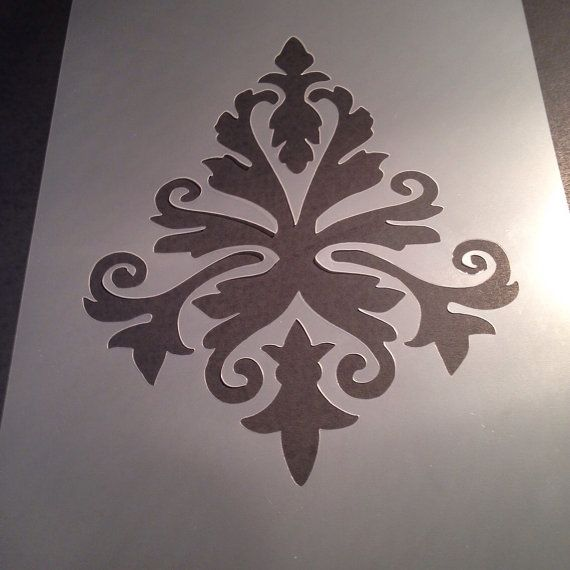 Damask stencil classic template card making plaque by StencilFish