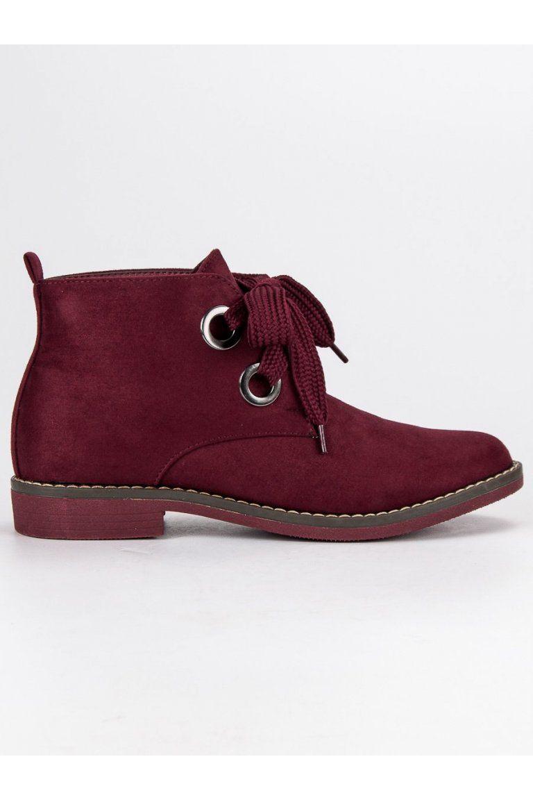 de1a696da2 Červené topánky semišové čižmičky s výrazným viazaním Super Mode ...