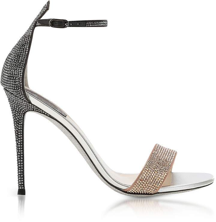 RENé CAOVILLA Designer Shoes, Celebrita Nude Satin Sandals w/ Crystals