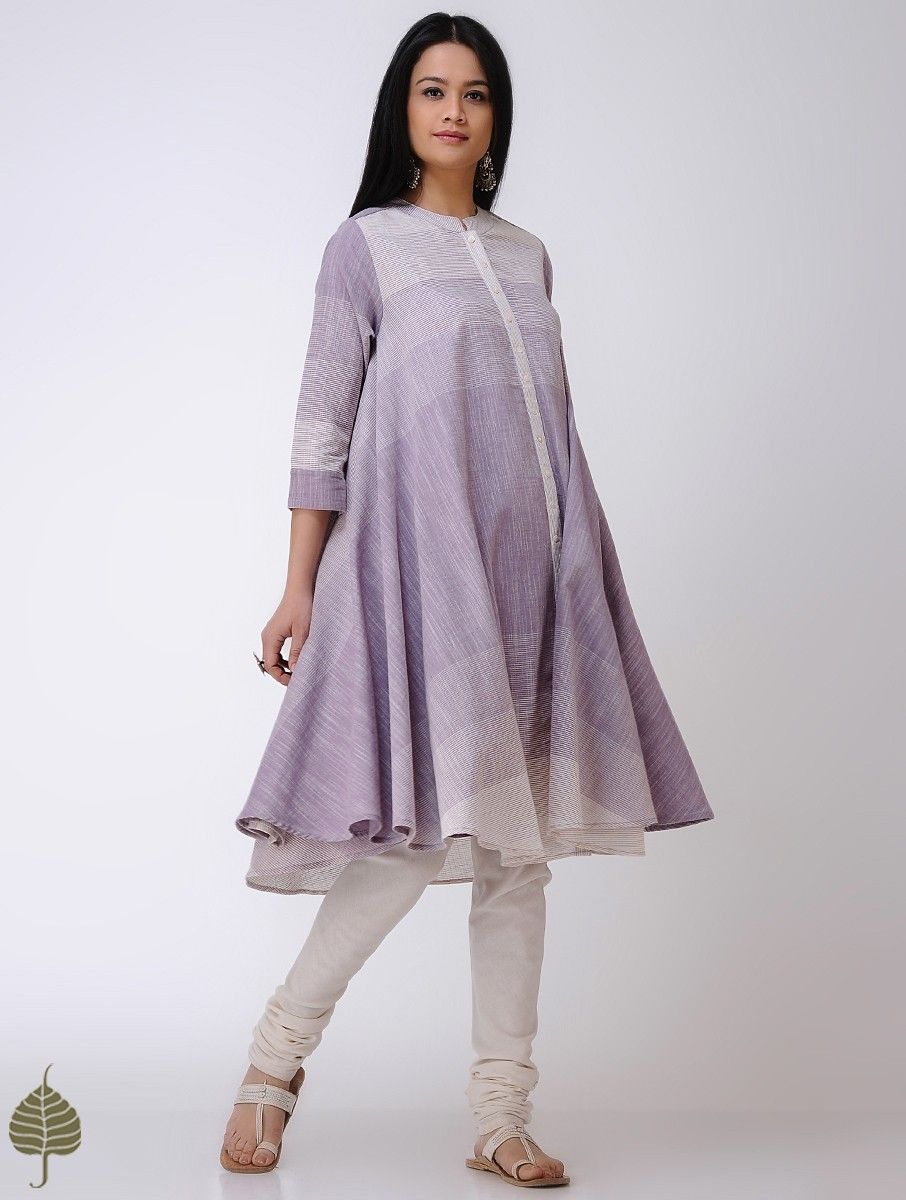 9f687b35a5d6 Buy Purple Ivory Handloom Cotton Kurta by Jaypore Women Kurtas Online at  Jaypore.com