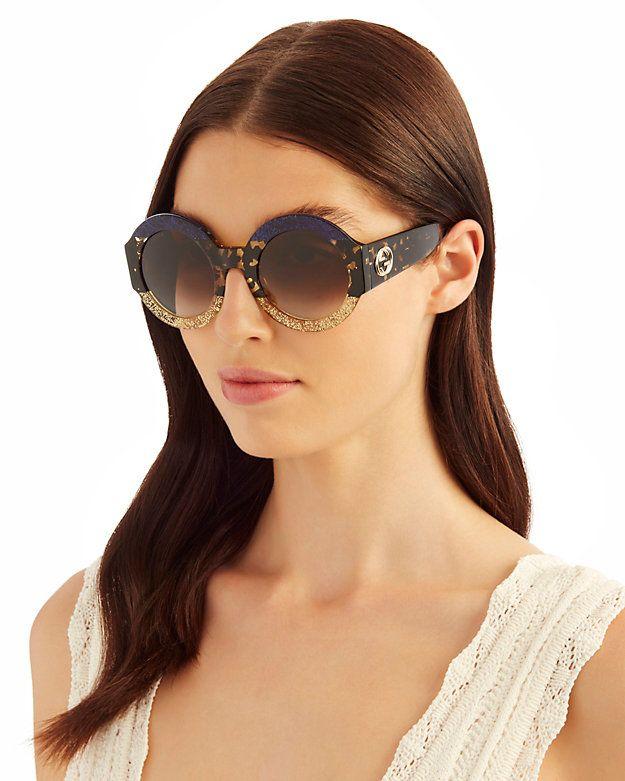 3bfef60850 Gucci Oversized Colorblock Glitter Round Sunglasses