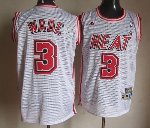 new styles 06dad 53e9d Heat #3 Dwyane Wade White Swingman Throwback Stitched NBA ...