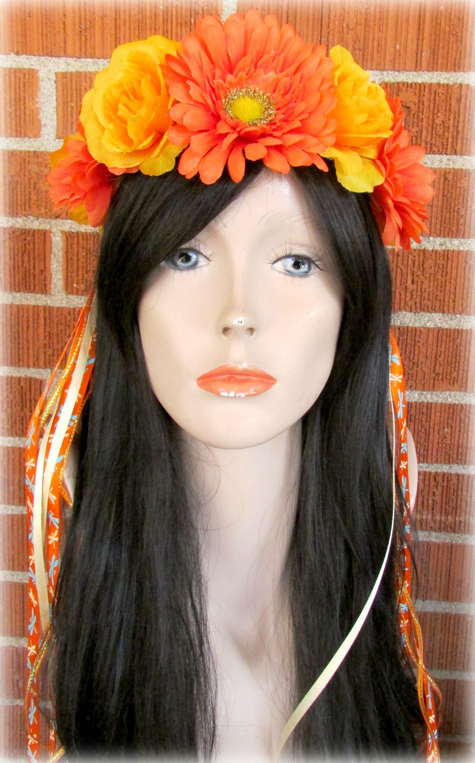 Orange And Yellow Flower Crown Floral Crown Flower Halo Flower