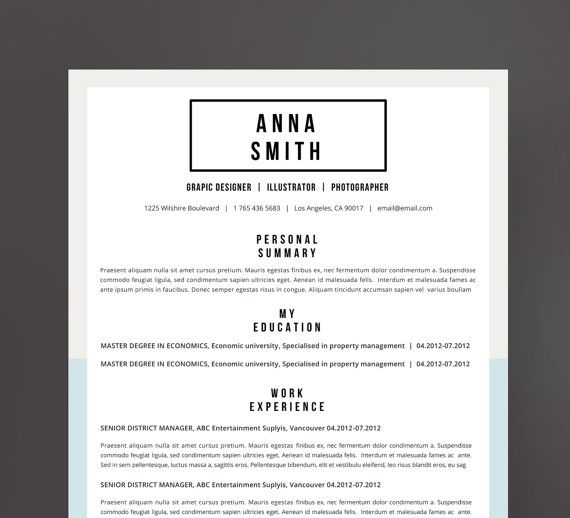 Resume Template no7 + Cover letter + Reference page \/ Free - resume business cards