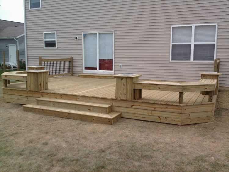 Deck With Low Sides Bench Surround And Cascading Steps Patio Deck Designs Decks Backyard Patio Design