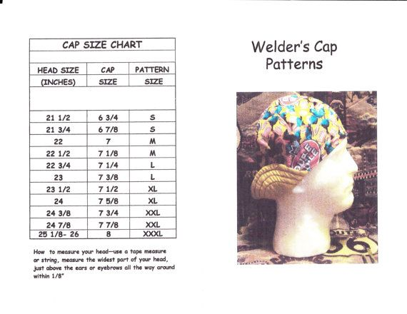 PDF-Welder s Hat Cap Pattern for 6-Panel Short Crown Reversible Hat Cap--  Sizes Infant-3XL Included dfc57b140aa