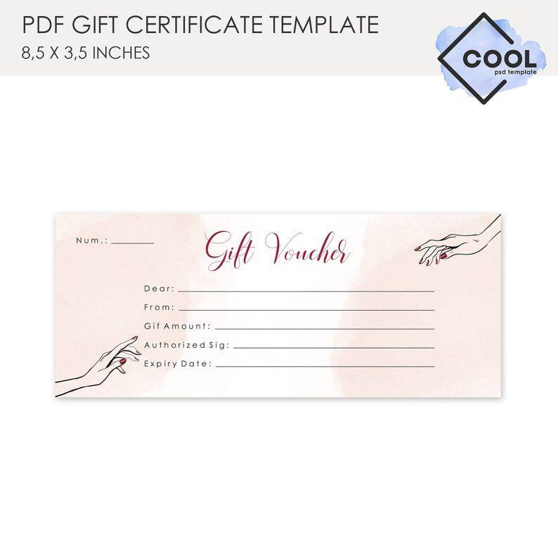 Gift Voucher Nail Salon Gift Certificate Gift Card Template