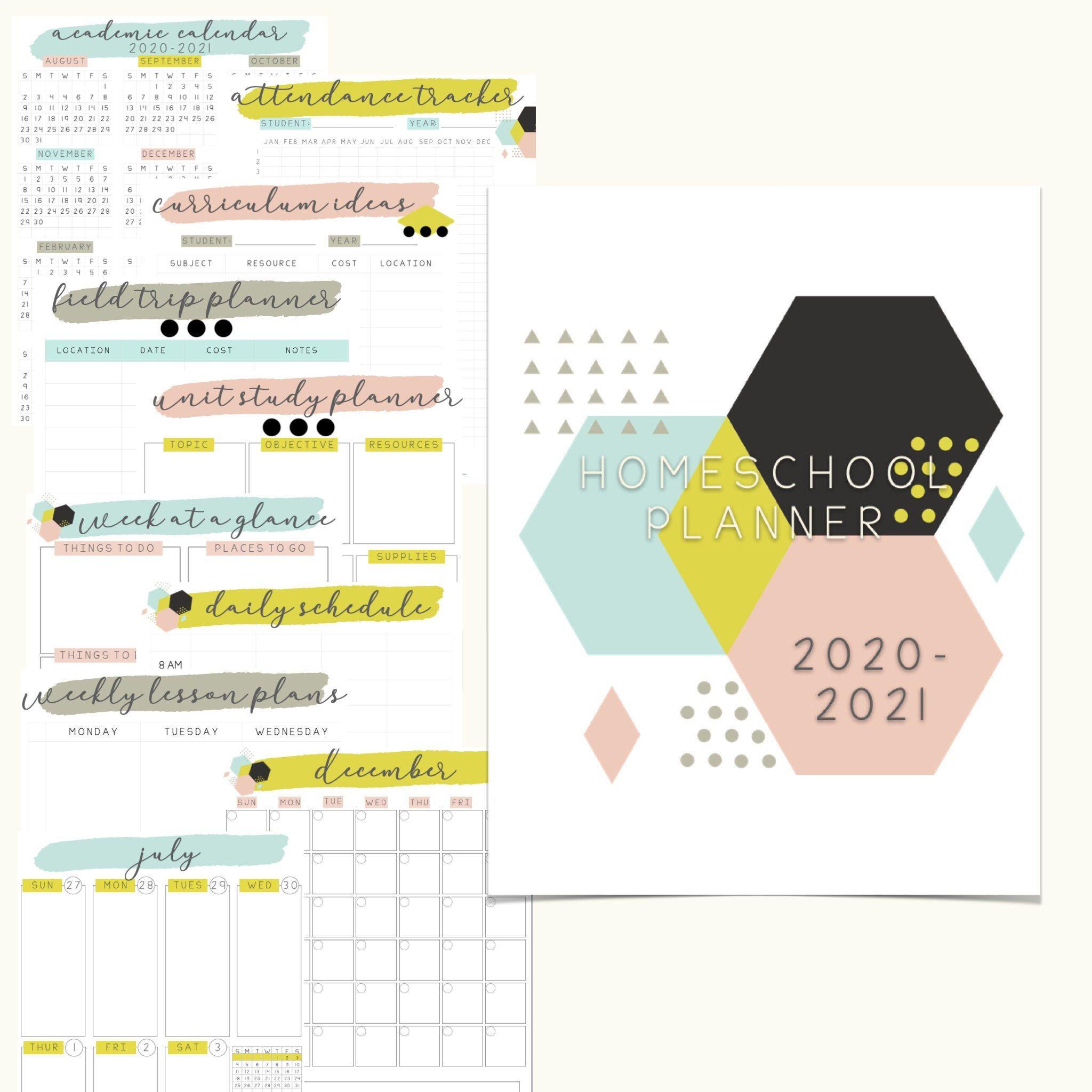 20202021 printable homeschool planner geometric digital