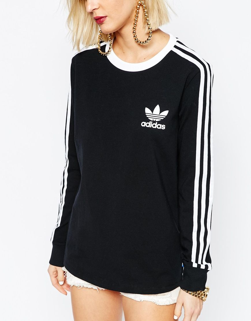 adidas 3 stripe long sleeve shirt