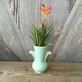 Vintage Vase Small Mint Vase {Indoor Plant Ceramic Pot for Succulents House Plan...#ceramic #house #indoor #mint #plan #plant #pot #small #succulents #vase #vintage