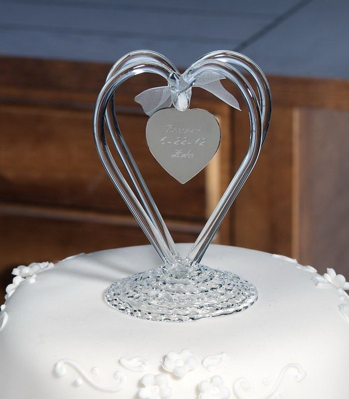 Glass Love Cake Toppers For Weddings