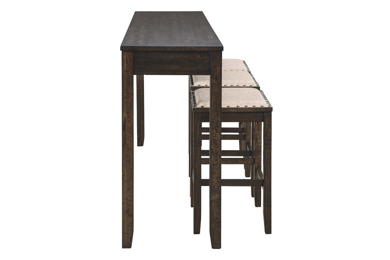 Rokane Counter Height Dining Table And Bar Stools Set Of 4 Ashley Furniture Homestore Counter Height Dining Room Tables Counter Height Dining Table Rustic Farmhouse Furniture