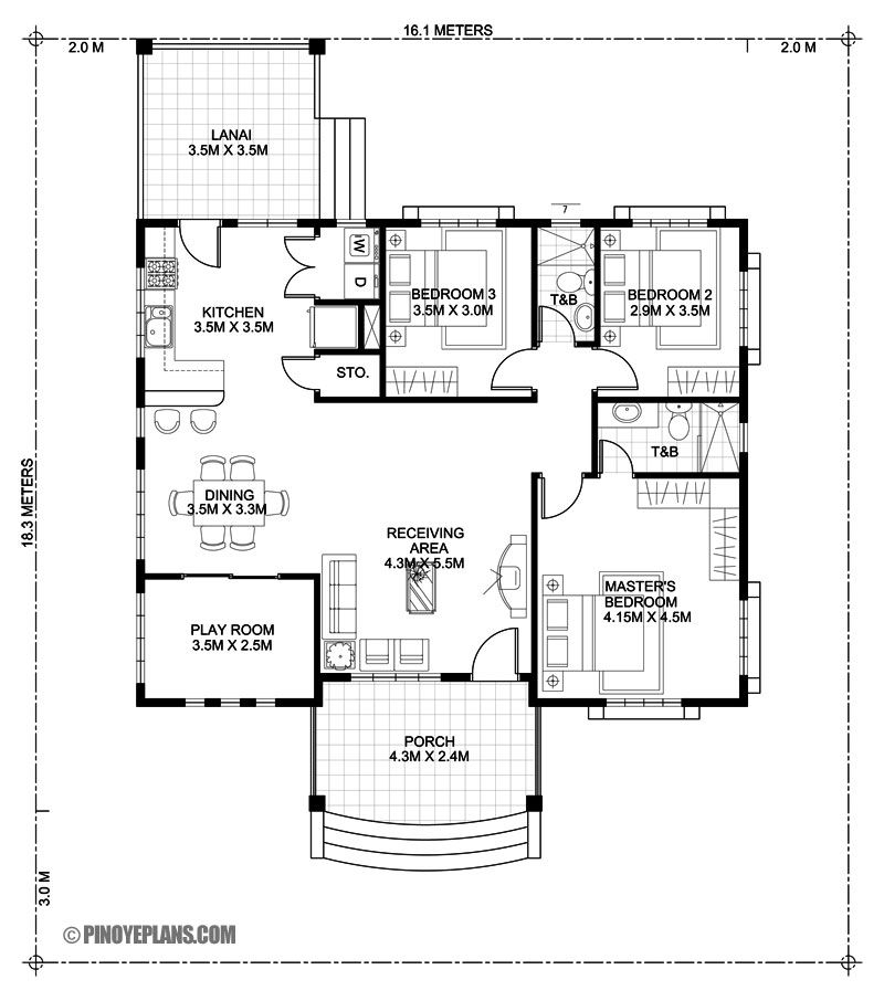 Three Bedroom Bungalow House Design Pinoy Eplans Bungalow House Floor Plans Bungalow Floor Plans Bungalow House Design