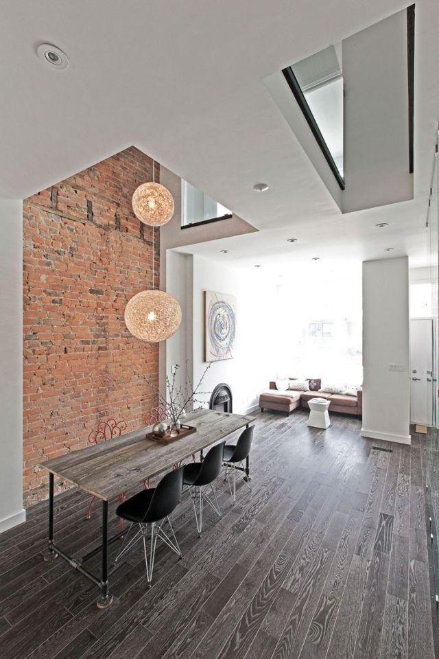 wandgestaltung brickstein rot weiße wände laminatboden Ideen - wandgestaltung wohnzimmer rot