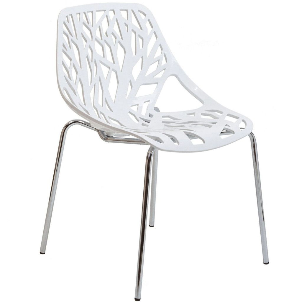 Modern plastic chairs - Forest White Plastic Modern Dining Chair