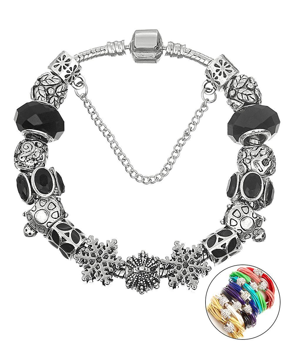Snowflake Charm Bracelet: Pink Box Accessories Black & Silvertone Crystal Snowflake